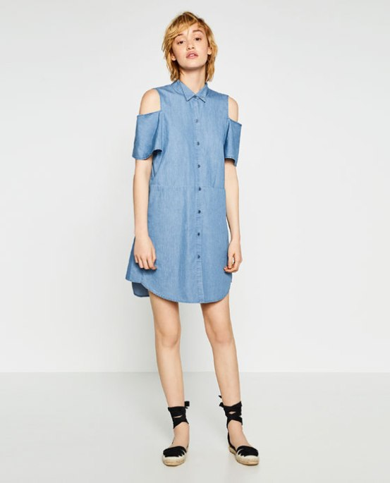 cold shoulder dress denim-zara