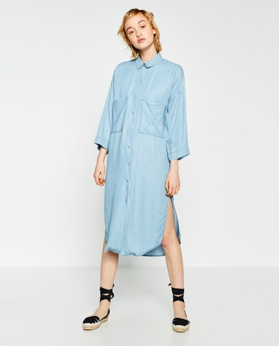 long denim shirt-zara
